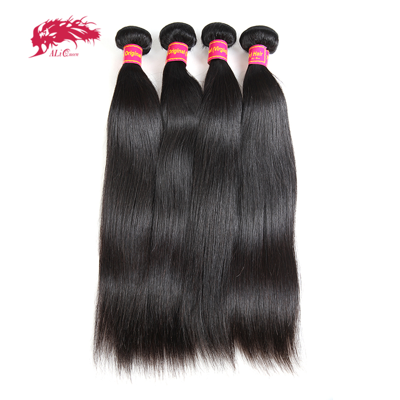 Ali Queen Hair Brazilian Straight Virgin Hair Extension 4pcs Lot Natural Color 6