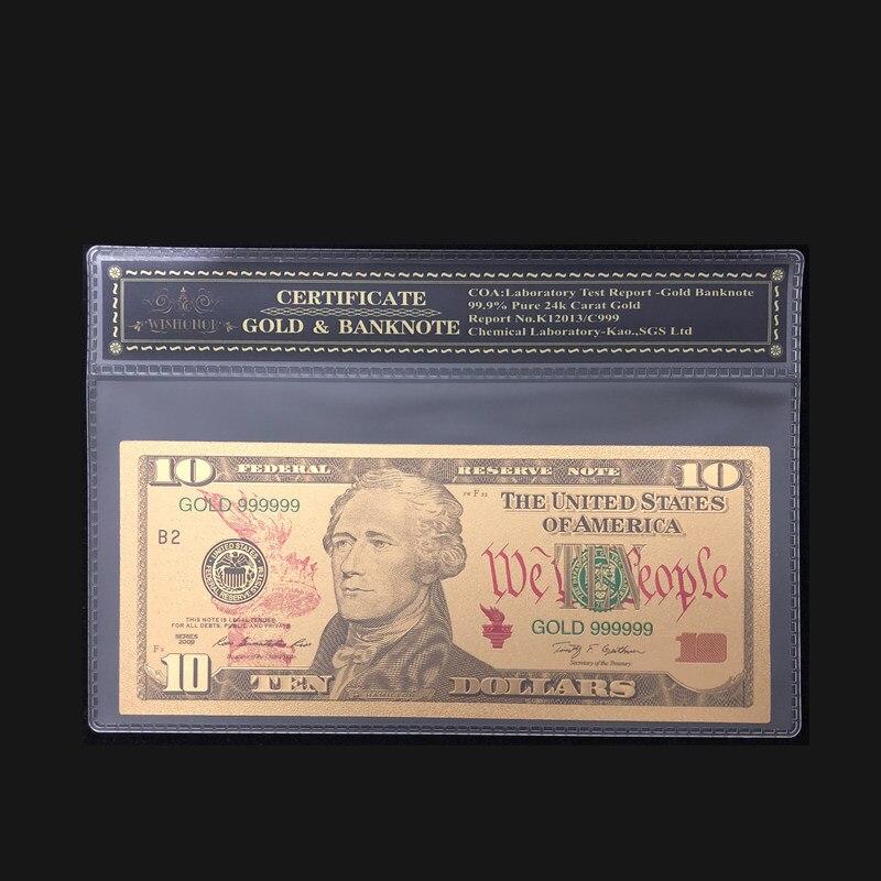 Высококачественные товары для Америки, банкноты на 10 долларов, банкноты на банкнотах, покрытые 24-каратным золотом, с пластиковой рамкой для ...