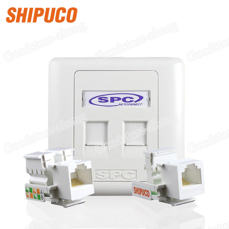 цена на Wall Plate 2 Ports Dual Socket Network Ethernet LAN CAT5 Cat5e Connector Panel Outlet Faceplate Home Plug Wholesale Lots