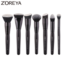 Zoreya ماركة 7 قطعة الأسود ماكياج فرش مجموعة للنساء التجميل أداة النايلون فرشاة شعر مقبض الخشب فرش المهنية أدوات