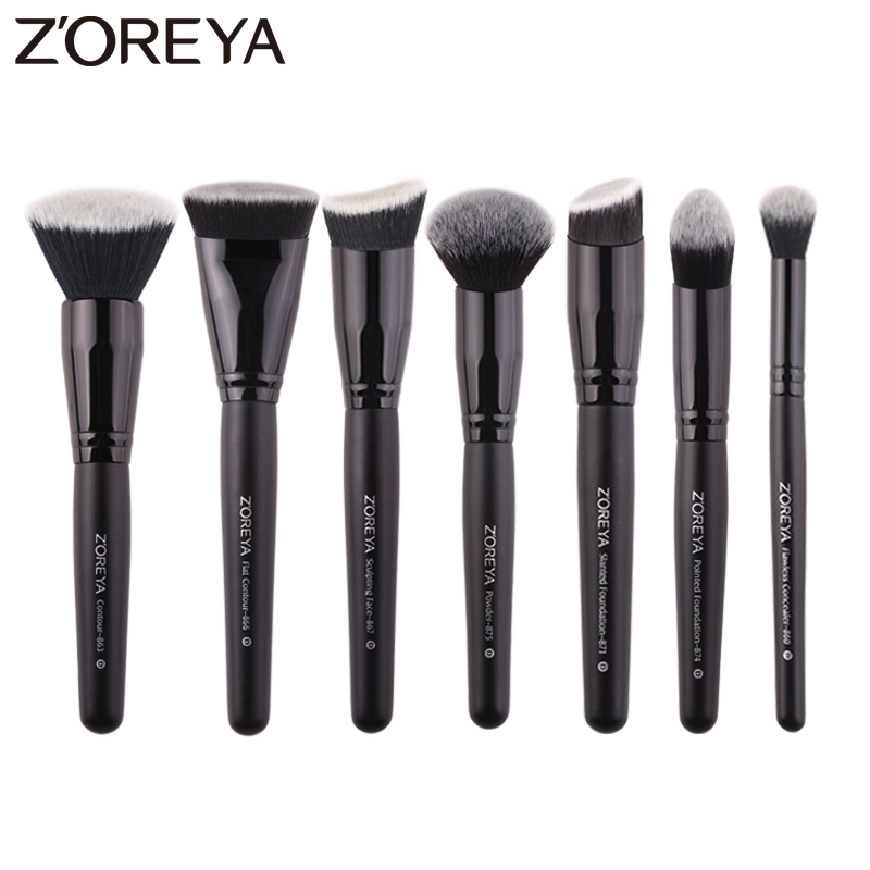Zoreya Brand 7pcs black makeup brushes set for women Cosmetic tool Nylon hair brush wood handle Professional brushes Tools(China)
