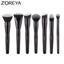Zoreya Brand 7/9pcs Black Makeup Brushes Set Eye Face Cosmetic Tools Nylon Hair Brush Wood Handle Professional Brushes Beauty