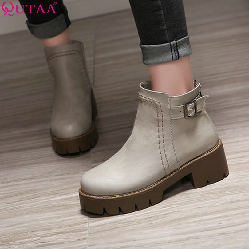 ФОТО QUTAA 2017 Square High Heel Woman Ankle Boots Women Shoes Round Toe PU leather PU Leather Ladies Motorcycle Boot Size 34-43