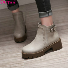 QUTAA 2017 Square High Heel Woman Ankle Boots Women Shoes Round Toe PU leather PU Leather Ladies Motorcycle Boot Size 34-43