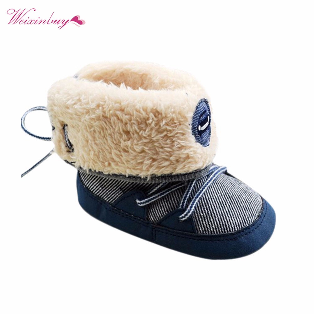 Winter Warm Baby Boy Snow Boots Lace Up Soft Sole Shoes Infant Toddler Kid 0-18 M XD
