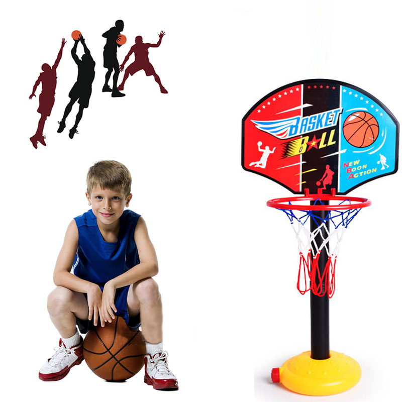 Primary Kids Mimi Basketball Hoop Rim Net Set Backboard Basket Ball Adjustable 72-108cm Red Basketball Hoop+Basketball+Pump