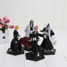 4pcs/set 15cm Bleach Kurosaki Ichigo Kuchiki Byakuya PVC Action Figure