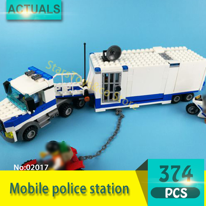 City series 02017 374Pcs Mobile police station Model Building Blocks Set Bricks toys For Children Gift Compatible 60139 kazi 6726 police station building blocks helicopter boat model bricks toys compatible famous brand brinquedos birthday gift