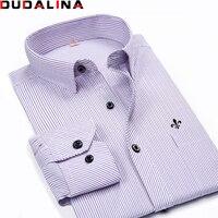 Dudalina Male Striped Shirt Brand Clothing Pocket Mens Long Sleeve Shirt 2017 Summer Slim Fit Shirt