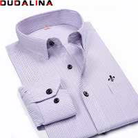Dudalina Male Striped Shirt Brand Clothing Pocket Mens Long Sleeve Shirt 2017 Summer Slim Fit Shirt