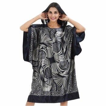 b0e0300b1 Azul marinho 6XL Oversize Pijamas De Seda Do Falso Das Mulheres Novidade  Imprimir Camisola Manga Morcego Solta Camisola Pijamas Roupa de Dormir JA22