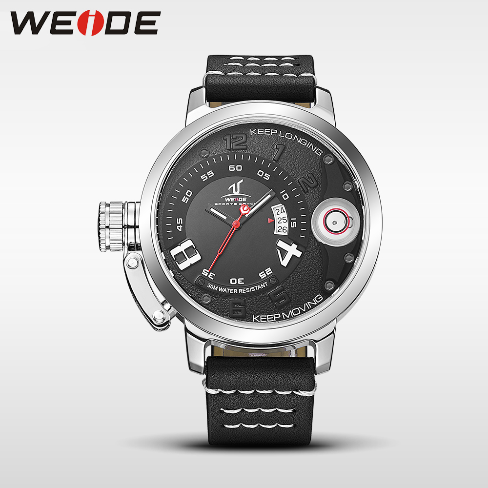 WEIDE 2017 hot men watches top brand luxury men quartz sports wrist watch casual genuine water resistant analog leather watch weide brand clock men luxury automatic watch analog quartz men sports watches water resistant leather bracelet saat waterproof