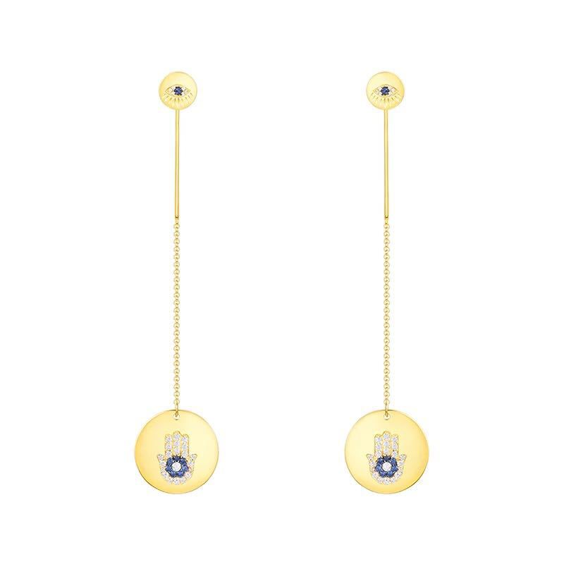 ZOZIRI 925 Sterling Silver Yellow Gold Color Round Lucky Hand Palm Long Earrings Women Zircon Earrings monaco Jewelry vocation ZOZIRI 925 Sterling Silver Yellow Gold Color Round Lucky Hand Palm Long Earrings Women Zircon Earrings monaco Jewelry vocation