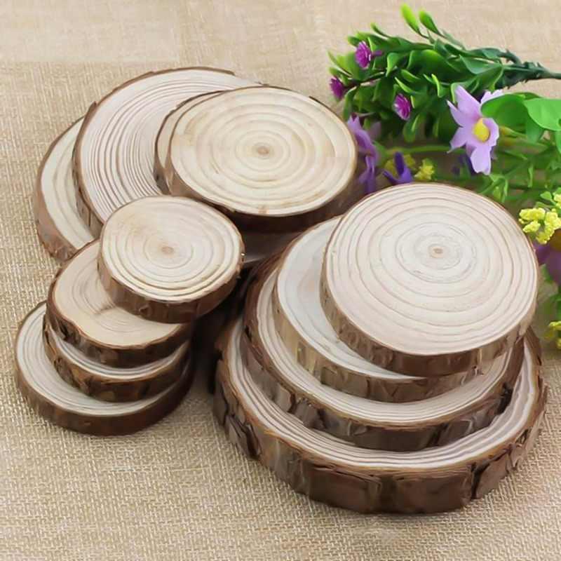 ナチュラルラウンド木材スライス円樹皮ログ Diy のためのディスク工芸ウェディングパーティー絵画装飾
