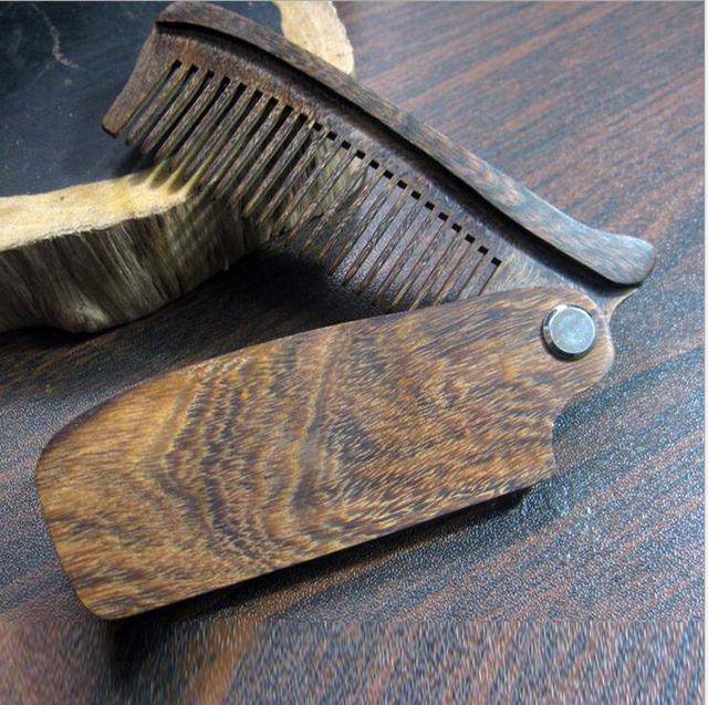 New Arrival Black Sandalwood Fine Tooth Pocket Folding Comb All Hair Types Beard Mustache Brush