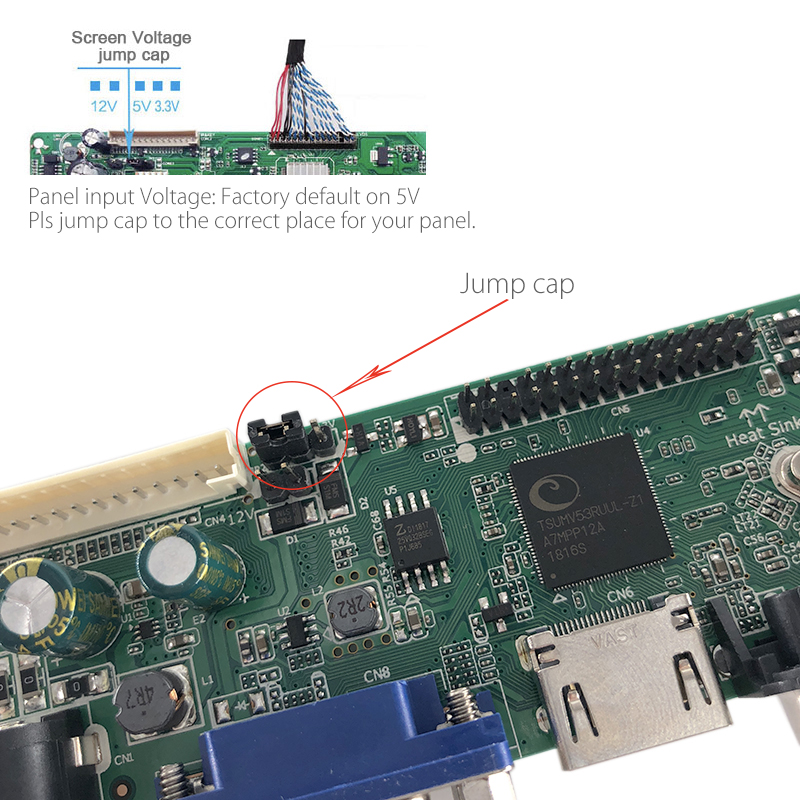 M53V5 1 Universal LCD LED TV Controller Driver Board Kit TV/PC/VGA/HDMI/USB  Interface Matrix T56 Support Russian V53RUUL Z1