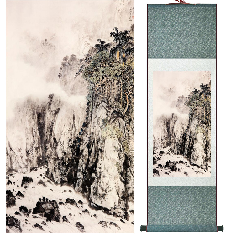 landscape painting Home Office Decoration Chinese scroll painting mountain and River paintingPrinted painting042410