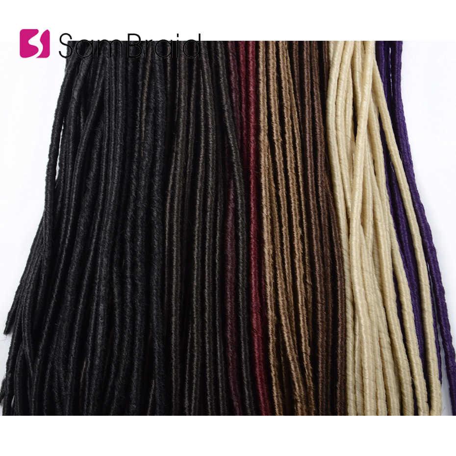 SAMBRAID Crochet trenzas cabello 18 pulgadas Faux Locs cabello 24 raíces extensiones de cabello Color puro sintético trenzado cabello para mujeres