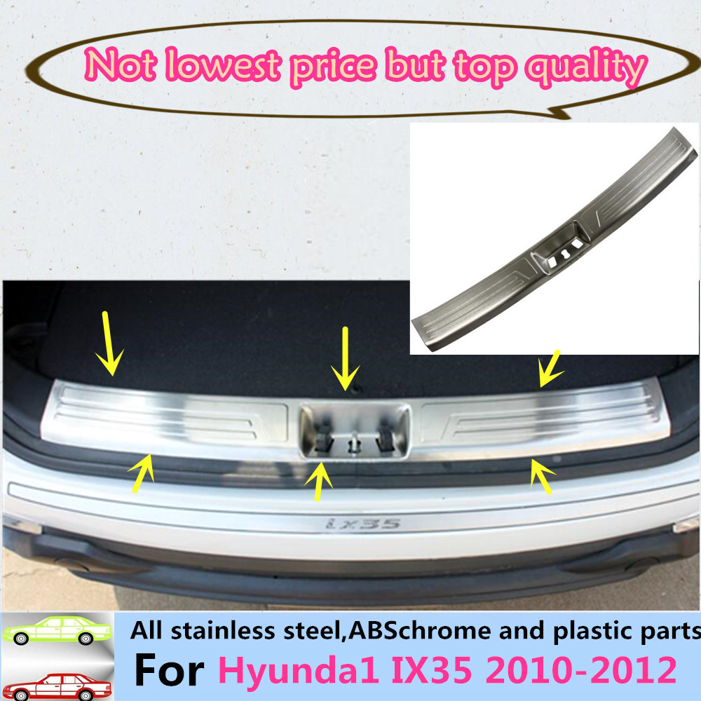 Car Intside Internal Rear Bumper trim Stainless Steel Scuff Sill trunk plate panel pedal 1pcs For Hyundai IX35 2010 2011 2012