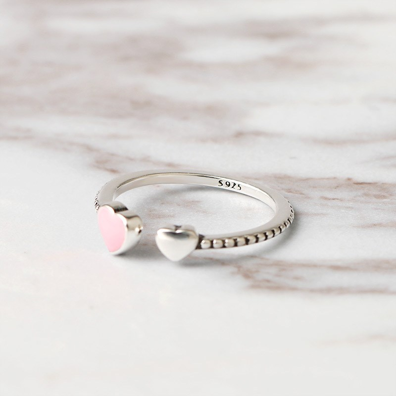 2018 Hot Sale Fashion jewelry 925 Silver Crystal from Swarovski Simple wild small love opening ring Fit Women and female as gift simple faux zircon opening ring for women