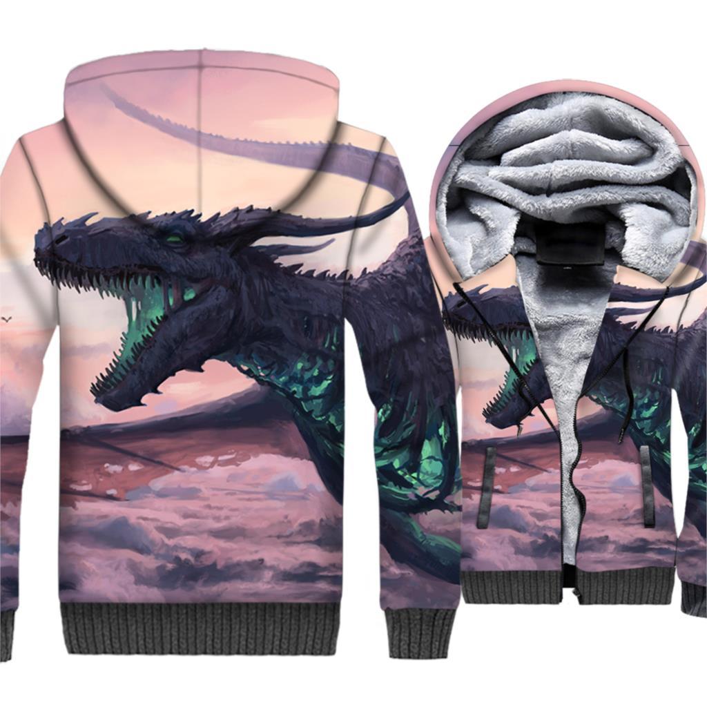 Dragon 3D Cool Printed Fashion Brand Sweatshirts Hip Hop Sportswear 2019 Hot Sale Zip Oversize Pullover Man Hoodie Winter Coats