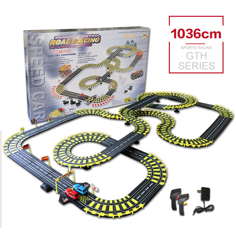 Original 1036cm RC Car Track High Speed Racing Toy Indoor Funny Toy Carro de brinquedo Electric Wired Remote Control original authorization rc track car toy 1 43 scale electric wired remote control car track racing toys for children s gift