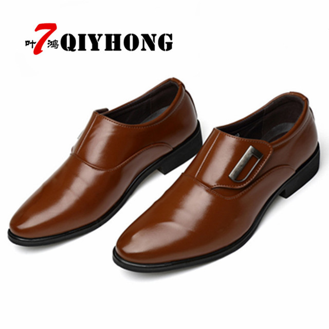 Hot Sales Luxury Brand PU Leather Fashion Men Business Dress Loafers Pointy Black Shoes  Breathable Formal Wedding Shoes 38-48