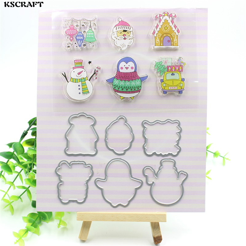 KSCRAFT Merry Christmas Transparent Clear Silicone Stamp And Cutting Dies Set for DIY scrapbooking/photo album Decorative lovely animals and ballon design transparent clear silicone stamp for diy scrapbooking photo album clear stamp cl 278