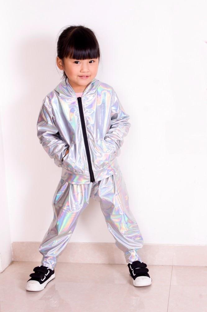 2018 New Spring Autumn Kids bomber Jacket Stage Performance Wear paillette feminina casaco Fluorescence Hip Hop dance coat 3