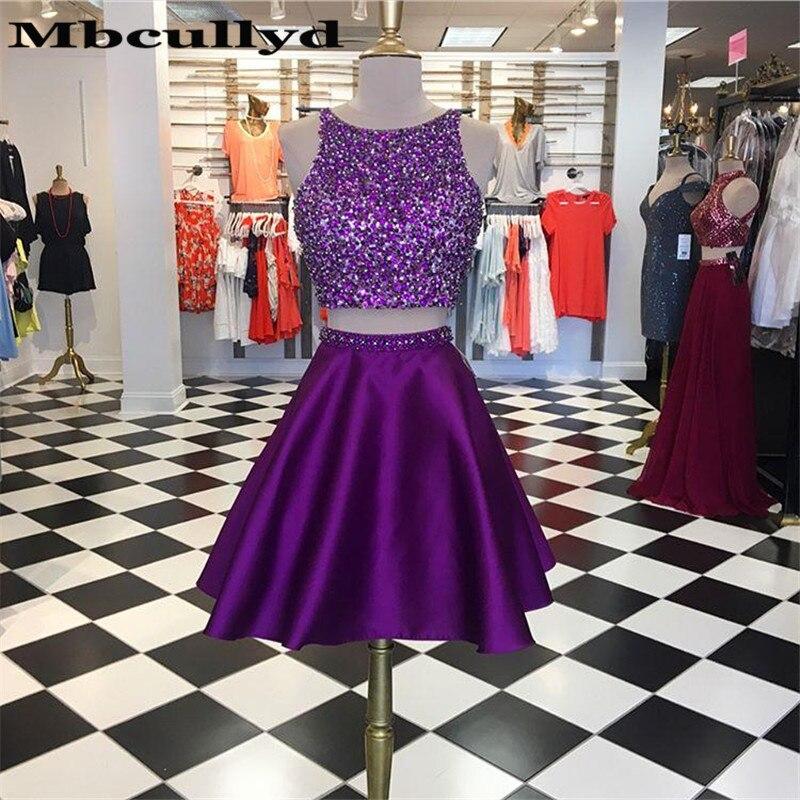 Mbcullyd сверкающие Бисероплетение Кристальные платья 2020 сексуальные фиолетовые две части вечернее платье на выпускной платье для женщин