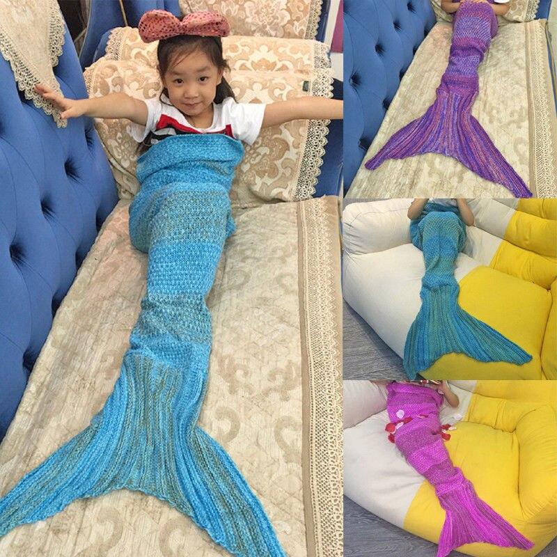 Romantisch Crochet Mermaid Schwanz Decke Windeln Kinder Kind Handgemachte Decken Quilt Zu Den Ersten äHnlichen Produkten ZäHlen