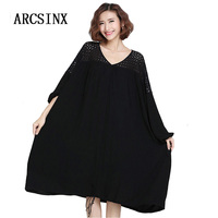 ARCSINX Plus Size Women Dresses 5XL 6XL 7XL 8XL 9XL 2017 Autumn Baggy Lace Long Sleeve