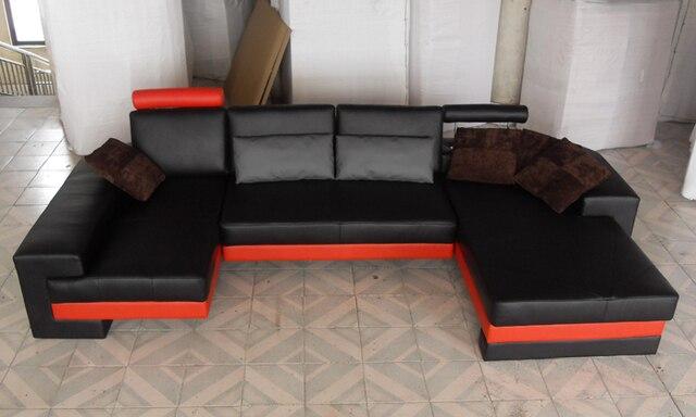 Free Shipping Nice Sofas New Modern Design Sofa U Shaped Corner Genuine Leather Sofa white Real Leather Furniture Sofa LC9102-2