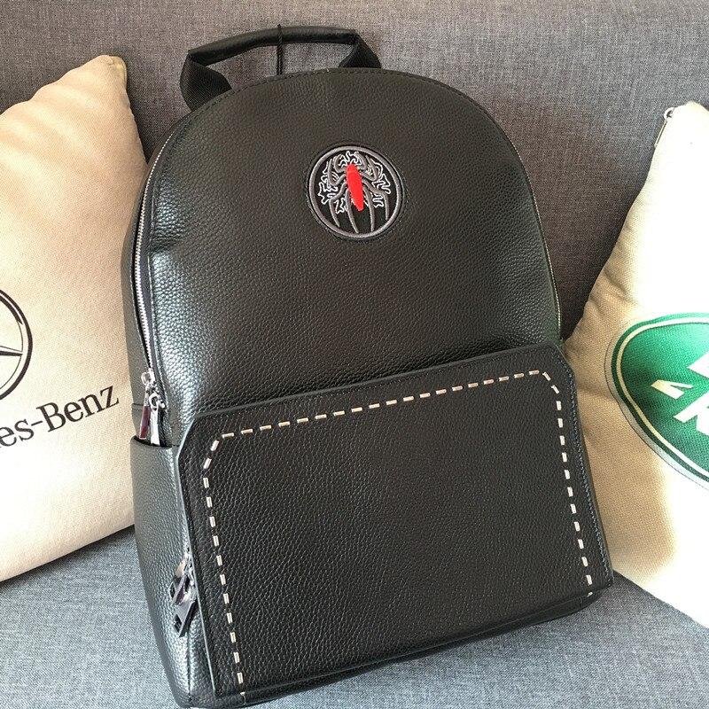 Kaisiludi cuir double sac à bandoulière grande capacité sac à dos hommes et femmes sac d'ordinateur affaires simple sac de voyage - 3