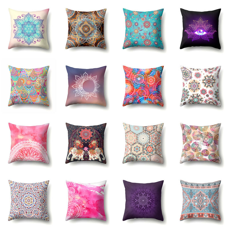 New Bohemian mandala pattern polyester printing home pillowcase living room decoration sofa cushion cover car office cushion image