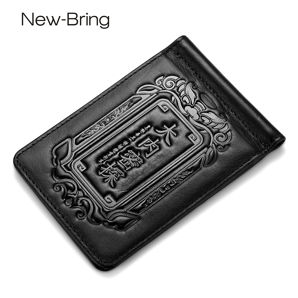 NewBring Men Women Genuine Leather Auto Car Driver License Holder Cover Slim Money Clip ID Card Chinese Style Charact Billfold