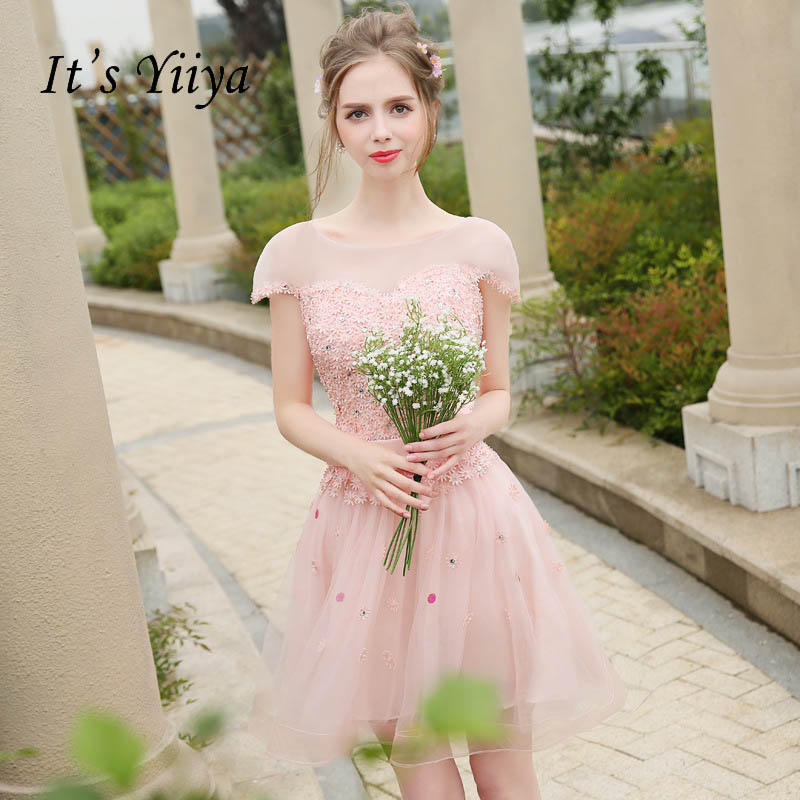 It's YiiYa Pink O-neck Sexy Illusion A-line Crystal Flowers   Cocktail     Dresses   Appliques Above Knee Formal   Dress   Party Gowns ZT011