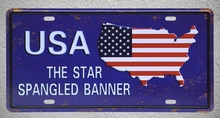 1 pc USA Map the star-spangled banner America plaques shop store Tin Plates Signs wall Decoration Metal Art Vintage Poster