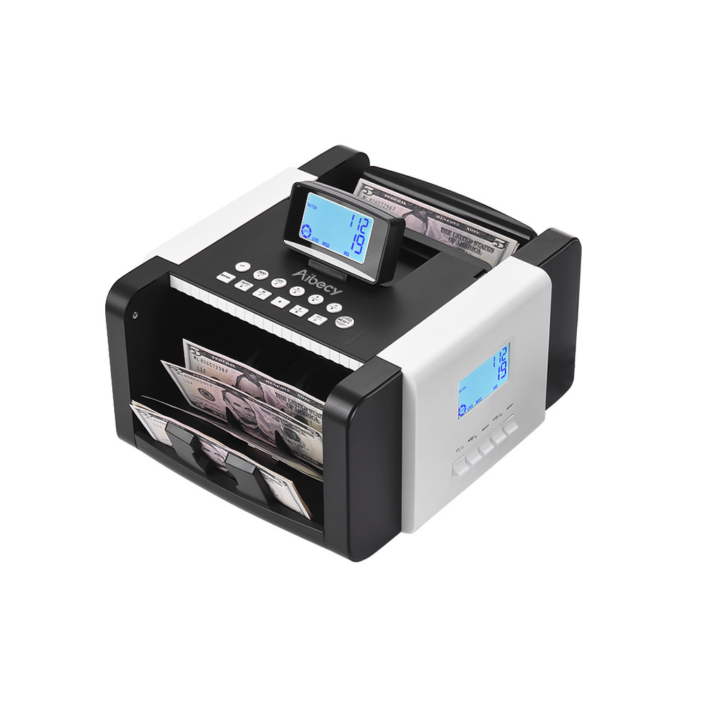 Aibecy Dual LED Display Multi currency Banknote Counter Money Cash Bill Counting Machine UV/MG/MT/IR/DD Counterfeit Detection-in Money Counter/Detector from Computer & Office    3