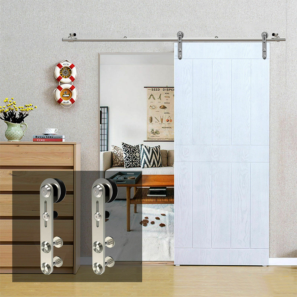 LWZH 10-16FT Round -Shaped Silver Stainless Steel Puerta Corredera Wooden and Glass Sliding Door Hardware Kit for Single Door