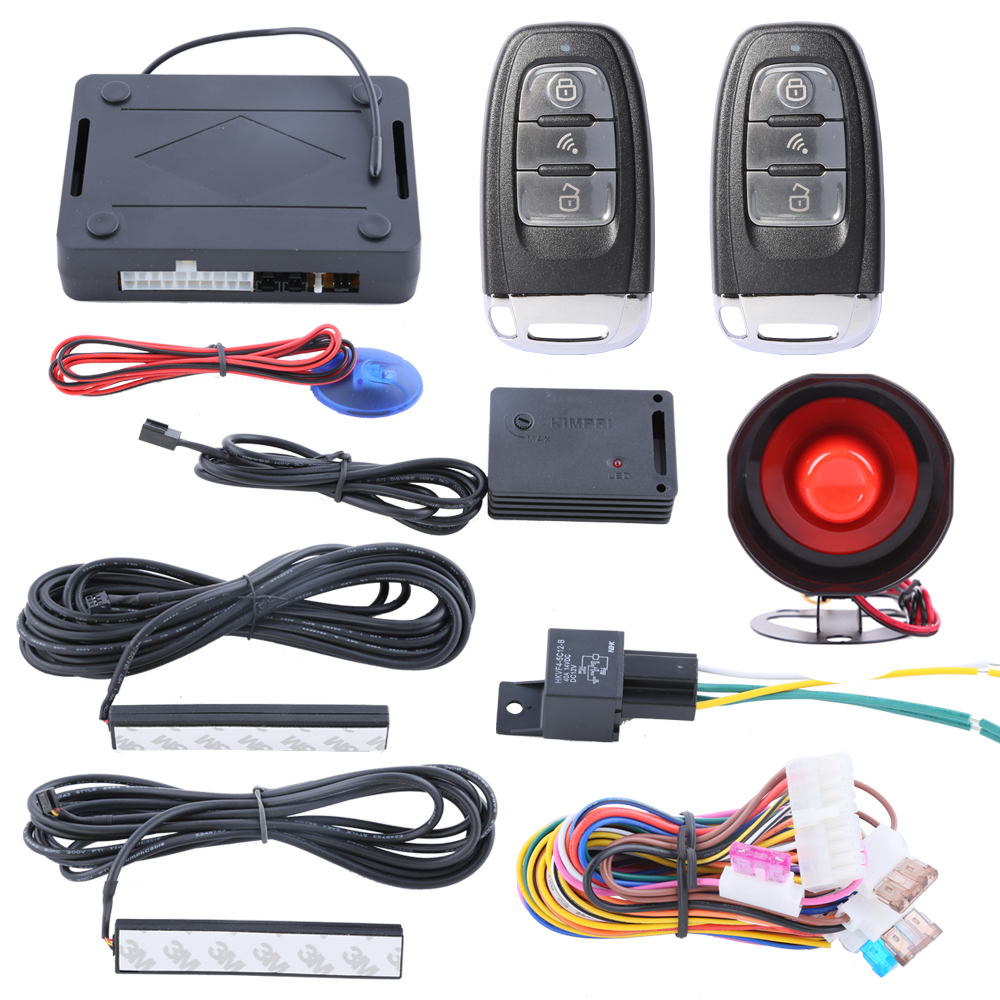 Hopping code car security car alarm system with PKE passive keyless entry automatic owner identify power window output smart pke car alarm hopping code with remote start