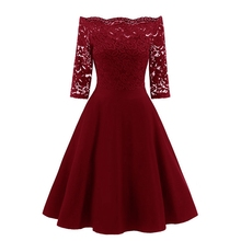 2018 Autumn Women Elegant See Through Off Shoulder Skater Lace One Piece Dress Suit Party Evening Mother of Bride Bodycon Dress yeya autumn fashion slim beaded organza see through sexy party dress women elegant party female clothing ladies bodycon dress