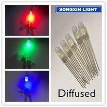 1000 pcs LED 5mm RGB מפוזר LED קתודה משותפת 4 סיכות RGB Tri צבע פולטות דיודות 5MM אדום/ירוק/כחול led מנורה