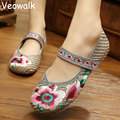 Veowalk Мода Женская Обувь, старый Пекин Мэри Джейн Квартиры С Случайные Холст Обувь, китайский Стиль Вышитые Ткани Обувь Женщина