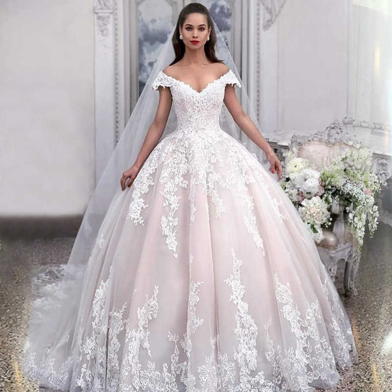 f179cf9800 Detail Feedback Questions about Off The Shoulder Ball Gown Wedding Gowns V  Neck Appliques Lace Tulle Floor Length Long Bridal Gowns Elegant Women  Dresses on ...