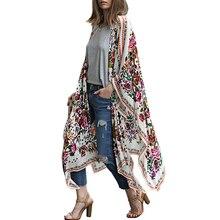 Женские длинные шифоновые кимоно накидка кардиган Blusa Feminina повседневные рубашки куртки длинные пляжные прикрыть Топы blusa femin