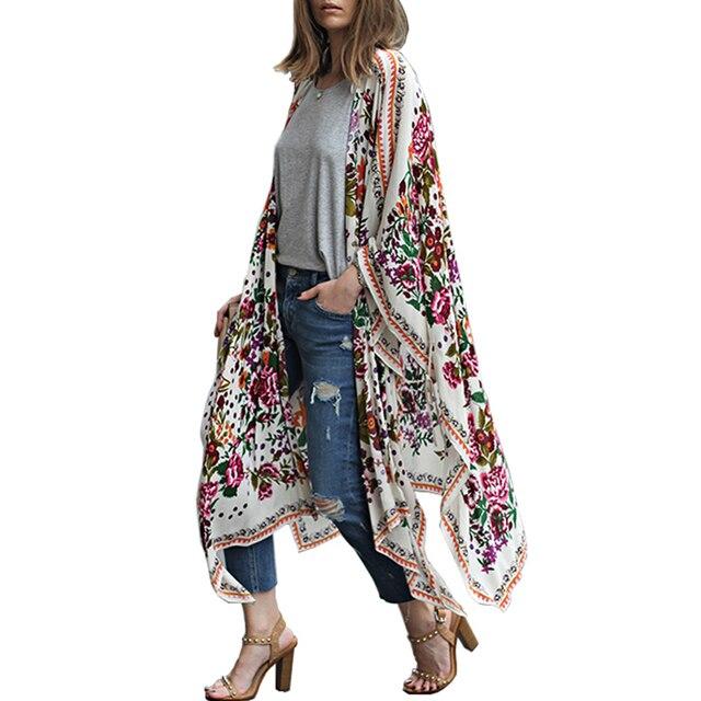 Femmes Longue Mousseline de Soie Kimono Cape Cardigan Blusa Feminina Casual Chemises Vestes Long Beach Cover Up Tops blusa femin