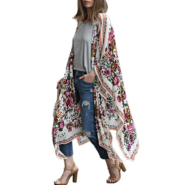 3d0f3c2c5 Women Long Chiffon Kimono Cape Cardigan Blusa Feminina Casual Shirts  Jackets Long Beach Cover Up Tops blusa femin