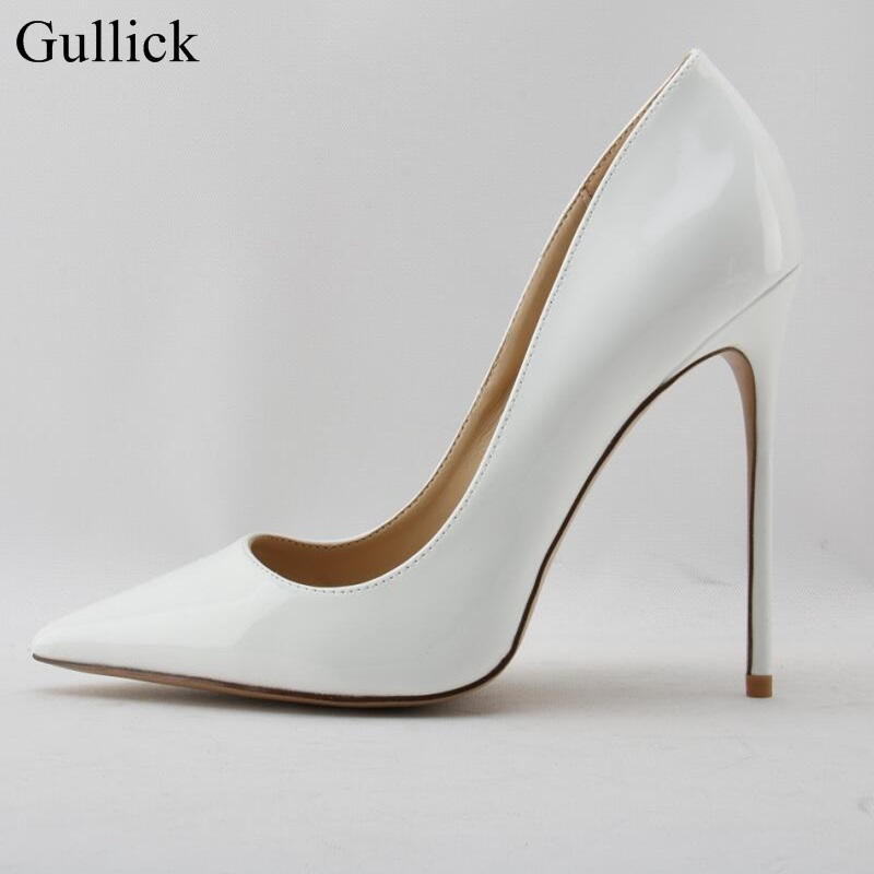 Gullick Patent Leather High Heels Pumps 12CM Pointed Toe Pointed Toe Stiletto Heels Dress Shoes Women Slip-on Party Dress Shoes shofoo handmade fashion women pointed toe low heels leopard pumps slip on shoes woman dress
