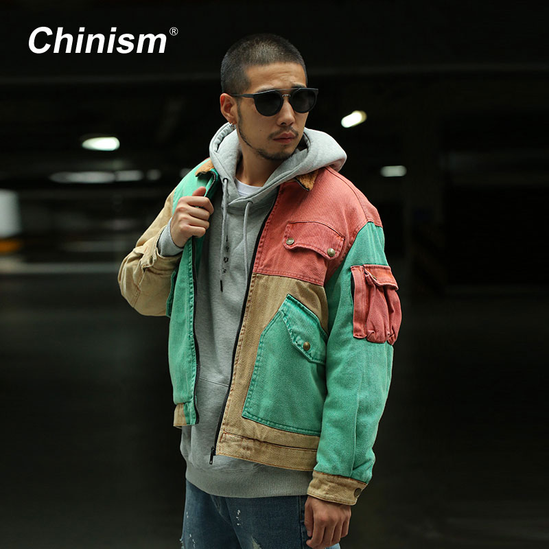 CHINISM Color Patchwork Wool Collar Thick Coats Mens Multi Pockets Loose Parkas Jackets Stylish Streetwear Mens